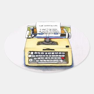 Yellow Typewriter Oval Sticker
