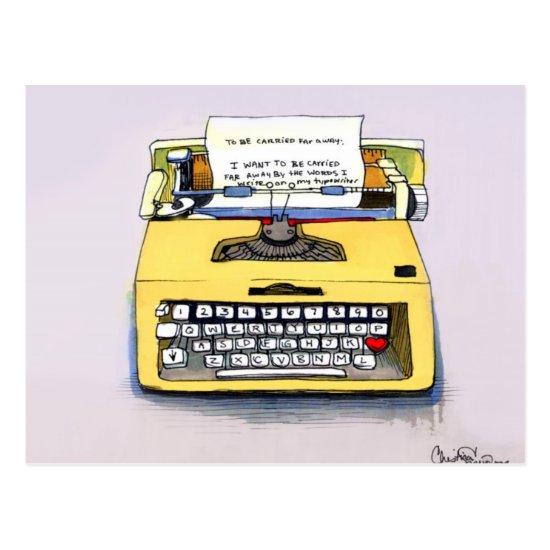 Yellow Typewriter Postcard