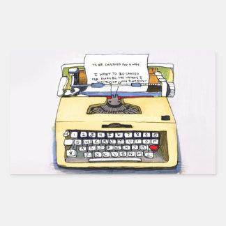 Yellow Typewriter Rectangular Sticker