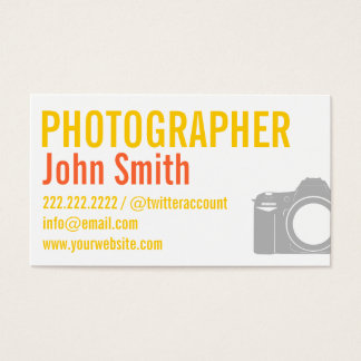 Yellow Typographic Photographer Business Card