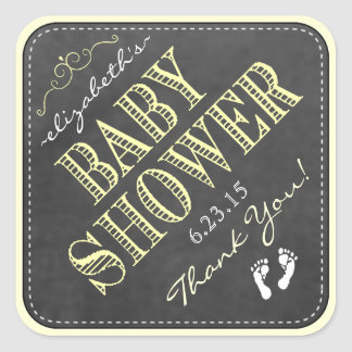 Yellow Typography Footprints Baby Shower Square Sticker