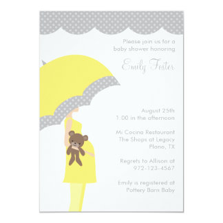 Yellow Umbrella Baby Shower Invitations Personalized Announcements
