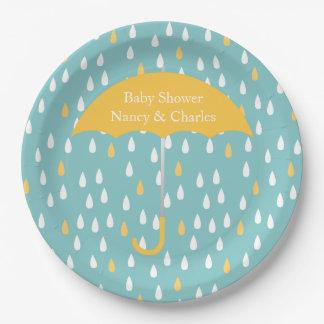 Yellow Umbrella Baby Shower Plate