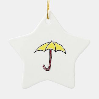 Yellow Umbrella Design Double-Sided Star Ceramic Christmas Ornament