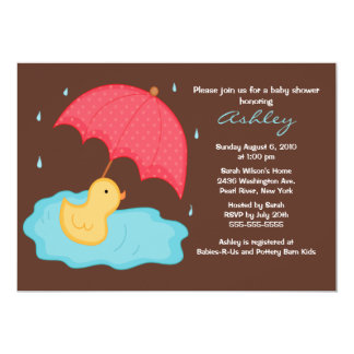 Yellow Umbrella Duck Baby Shower 5x7 Paper Invitation Card