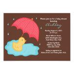 Yellow Umbrella Duck Baby Shower Announcement