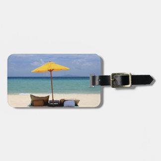 Yellow umbrella luggage tag