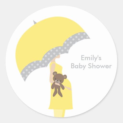 Yellow Umbrella Stickers Round Stickers