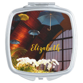 Yellow Umbrella White Flowers Art Photography Compact Mirror