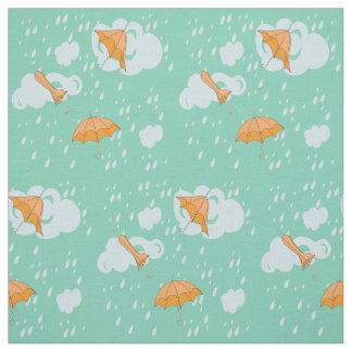 Yellow Umbrellas and rain clouds Fabric