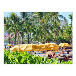 Yellow Umbrellas on the Beach Postcard