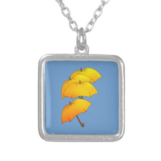 Yellow umbrellas silver plated necklace
