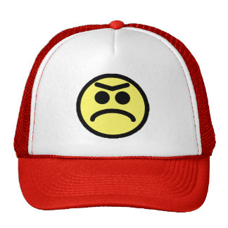 Yellow Unibrow Frown Smiley Face Trucker Hat