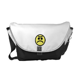 Yellow Unibrow Frown Smiley Face Messenger Bag