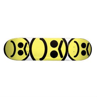 Yellow Unibrow Frown Smiley Face Skateboard Deck