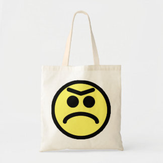 Yellow Unibrow Frown Smiley Face Tote Bag