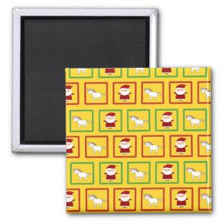 Yellow unicorns santa claus pattern 2 inch square magnet