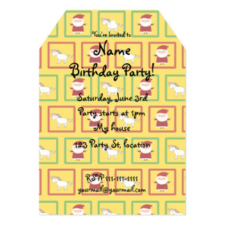 Yellow unicorns santa claus pattern 5x7 paper invitation card