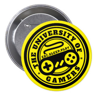 Yellow University of Gamers Seal Button