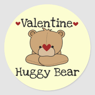 Yellow Valentine Huggy Bear Stickers
