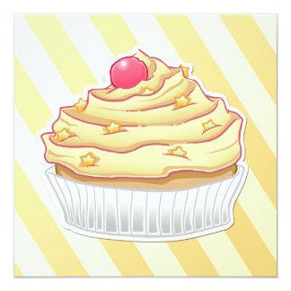 """yellow vanilla striped cupcake 5.25"""" square invitation card"""