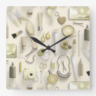 Yellow Vanity Table Square Wall Clock