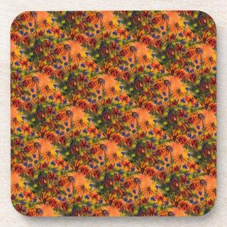 """Yellow Vase (Detail) Tiled"" Floral Coaster Set"