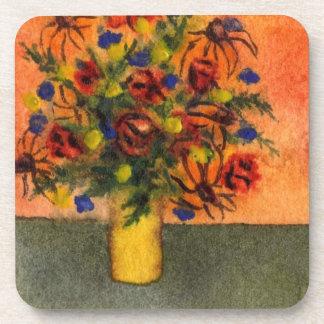 """Yellow Vase"" Floral Coaster Set"