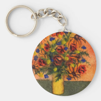 """""""Yellow Vase"""" Floral Keychain"""