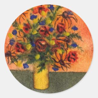"""Yellow Vase"" Floral Sticker"