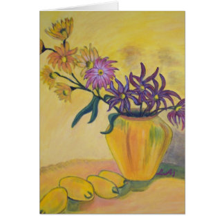 Yellow Vase Flowers Painting Blank Card