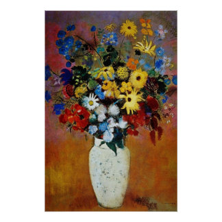 yellow Vase of Flowers, Odilon Redon flowers Print