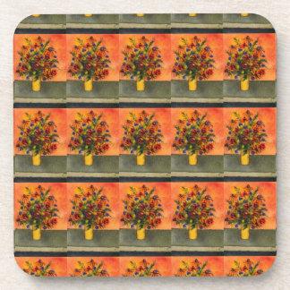 """Yellow Vase Tiled Pattern"" Floral Coaster Set"