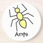 Yellow Vector Ant Drink Coasters