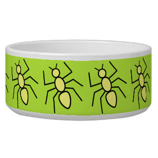 Yellow Vector Ants (Grass Green Background) Pet Food Bowl