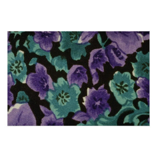 Yellow Vibrant purple and emerald flowers flowers Posters