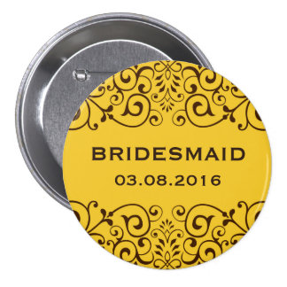 Yellow Victorian Floral Swirl Bridesmaid Button