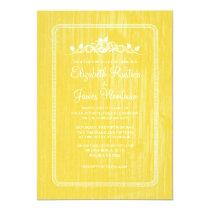 Yellow Vintage Barn Wood Wedding Invitations