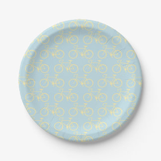 Yellow Vintage bike Paper Plate