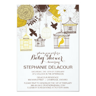 Yellow Vintage Birdcages Baby Shower Invitation