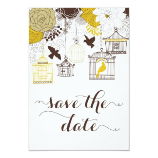 Yellow Vintage Birdcages Floral Save the Date 3.5x5 Paper Invitation Card