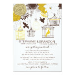 "Yellow Vintage Birdcages Floral Wedding Invitation 5"" X 7"" Invitation Card"