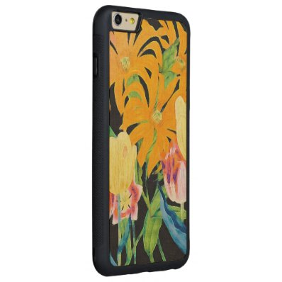 Yellow Vintage Botanical Tulips Carved® Maple iPhone 6 Plus Bumper Case