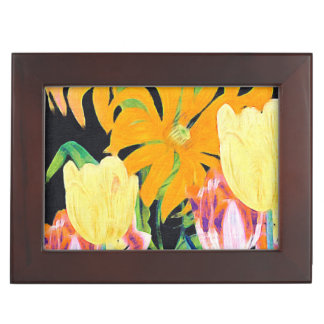 Yellow Vintage Botanical Tulips Memory Box