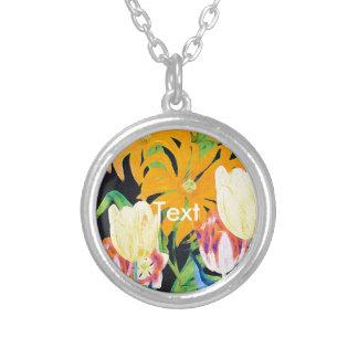 Yellow Vintage Botanical Tulips Round Pendant Necklace