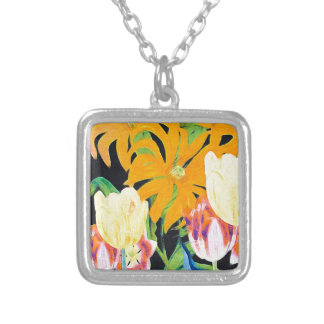 Yellow Vintage Botanical Tulips Square Pendant Necklace