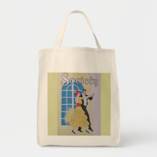 Yellow Vintage Dancers Graphic Tote Bag