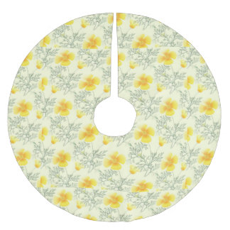 Yellow Vintage Floral Pattern Brushed Polyester Tree Skirt