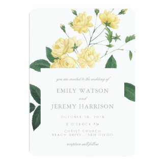 Yellow Vintage Flower Blossoms Wedding Invitation