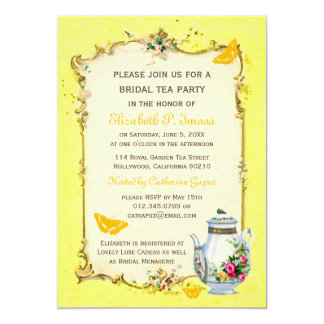 Yellow Vintage French Bridal Tea Party Card